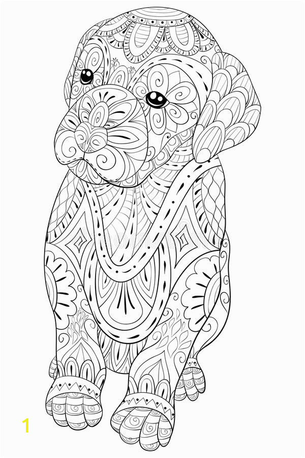 adult coloring page cute little isolated dog relaxing zen art style illustration cute little dog coloring relaxing