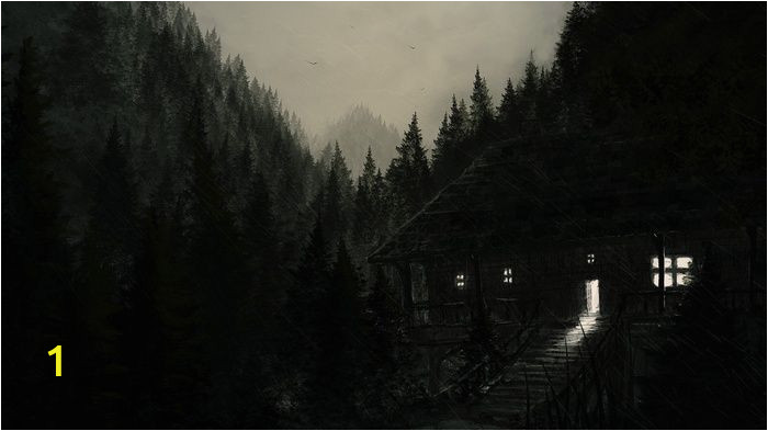 Dark forest Wall Mural Trees Landscape Rain Hills forest Drawing