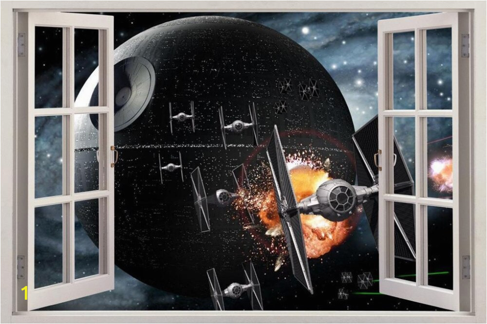 Star Wars DEATH STAR 3D Okno Zobacz Kalkomania CIENNA NAKLEJKA Home Decor Art Mural