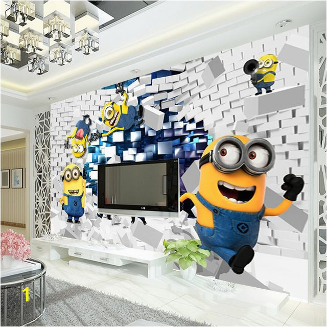 Despicable Me Wall Mural 3d Minions Wallpaper Cartoon Despicable Me Wall Mural