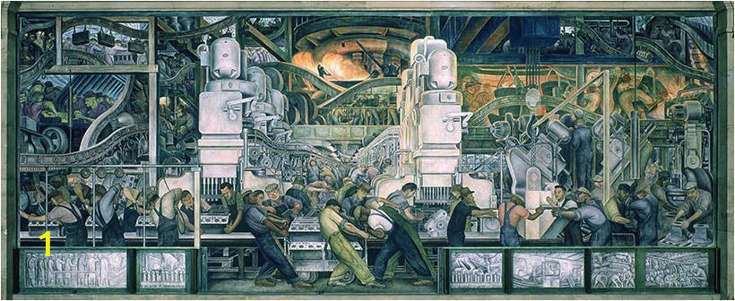 Part of the Detroit Industry North Wall fresco by Diego Rivera