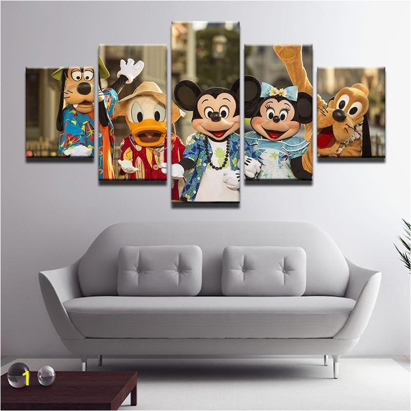 Disney Character Wall Murals Disney Characters Hawaii 5 Panel Canvas Print Wall Art In