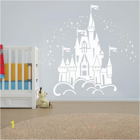 Disney Cinderella Castle Wall Mural Floating Disney Fairy Castle Wall Sticker Vinyl Decal Wall