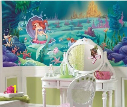 Disney Little Mermaid Wall Mural Roommates Disney Littlest Mermaid Chair Rail Prepasted Mural