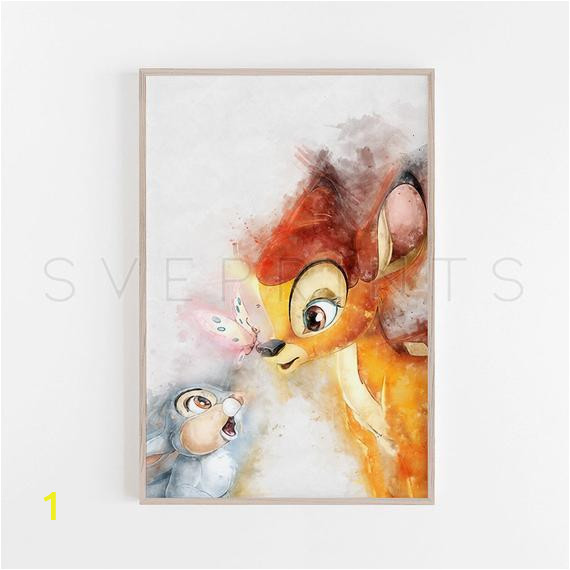 Disney Painted Wall Murals Bambi Print Nursery Wall Art Disney Wall Art Bambi Poster Kids Room Decor Bambi Watercolor Baby Shower Wall Decor Birthday T V33