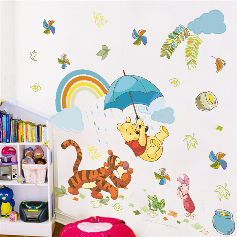 Cartoon Winnie Pooh Animals Wall Decals Kids Rooms Nursery Home Decor 40 60cm Disney Wall Stickers