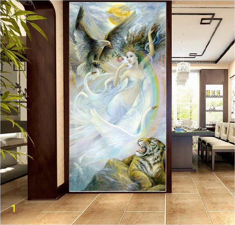 diy indoor waterfall 3d wallpaper y beauty girl with fierce tiger 3d character porch background wall beautifully decorated wallpaper mural of diy indoor waterfall