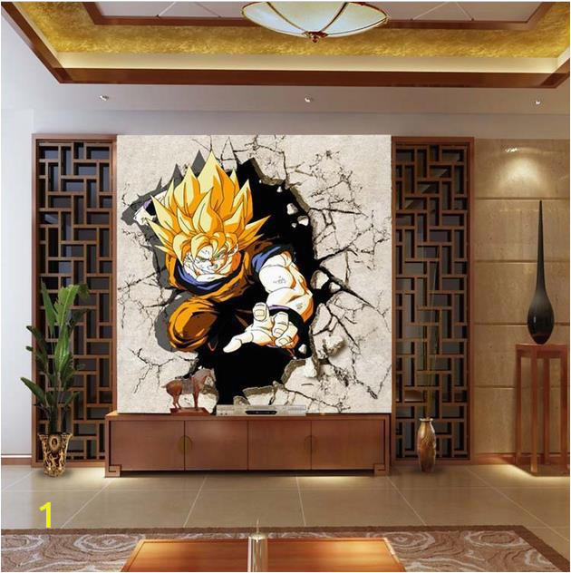 Cartoon TV sofa background wallpaper living room bedroom wall stickers children cartoon Dragon Ball large mural