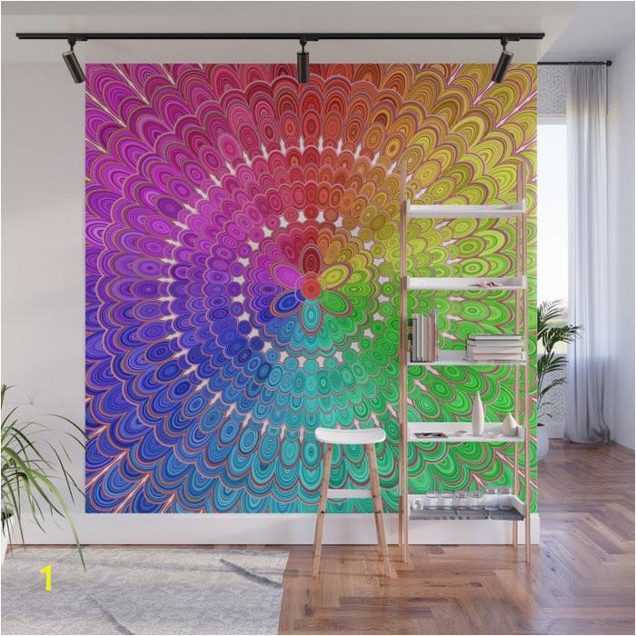 rainbow feather mandala wall murals