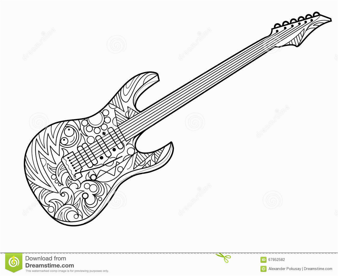 Electric Guitar Coloring Page Electric Guitar Coloring Book for Adults Vector Stock Vector