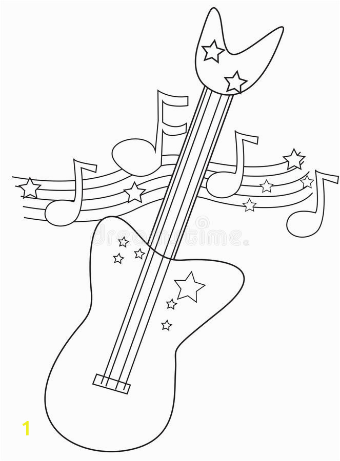 electric guitar coloring page useful as book kids