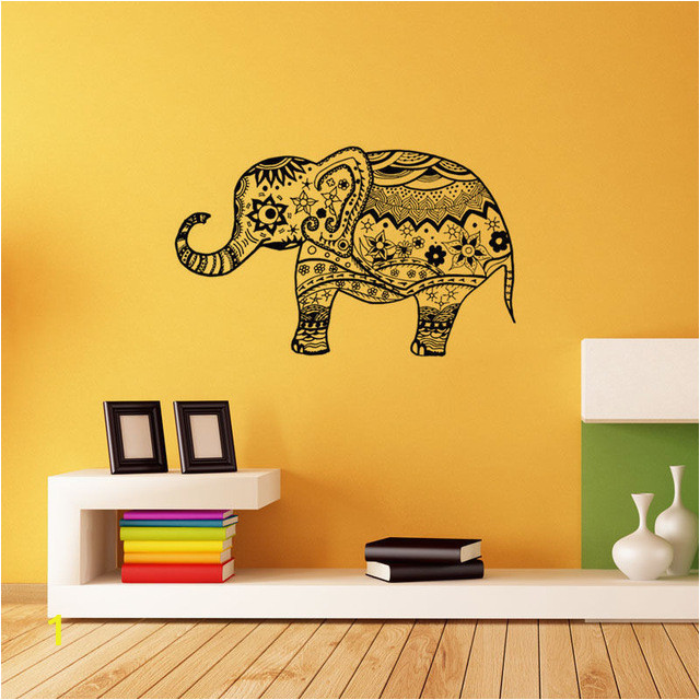 vinyl indian elephant pattern wall sticker ganesha art wall decal with indian elephant wall art of indian elephant wall art
