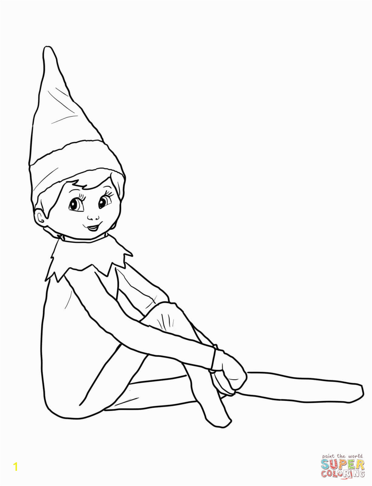 Elf On the Shelf Coloring Pages Girl Elf the Shelf Coloring Pages Printable Christmas Printables