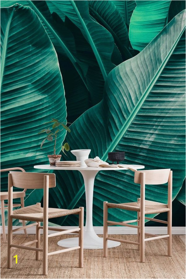 Emerald City Wall Mural Tropical Leaf Texture Wall Mural Wallpaper Nature