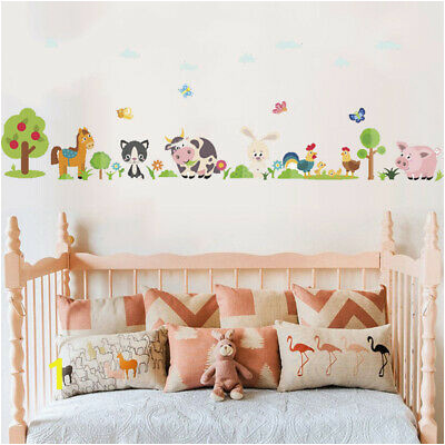 Lovely Animals Farm Wall Sticker Kids Bedroom Cow