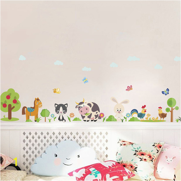Farm Animal Wall Murals Lovely Animals Farm Wall Stickers for Home Decoration Kids Room Bedroom Cow Horse Pig Chicken Mural Art Pvc Wall Decals Tree Wall Stickers Tree Wall