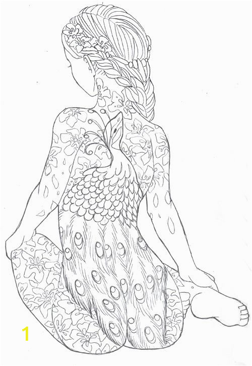 Female Tattoo Coloring Pages Girl with the Peacock Tattoo by Sanieaviantart Free
