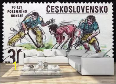home design living room sofa apartament postage stamp czechoslovakia 1978 bandy hockey winter sport B webp