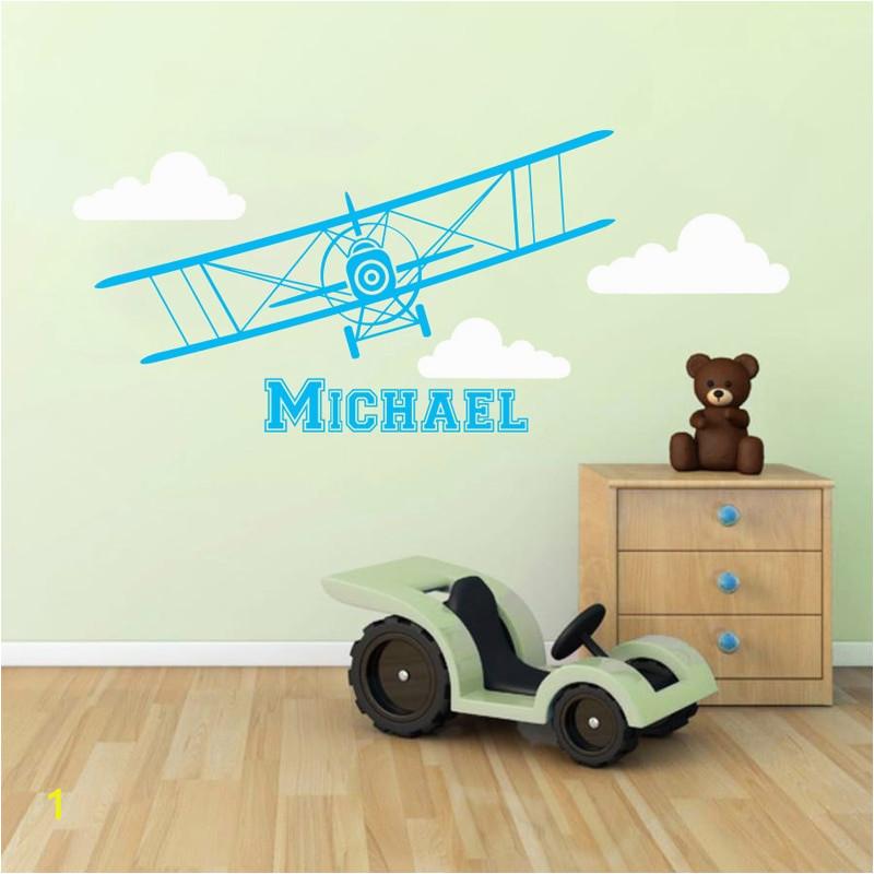 Mmctum Brand Airplane Vinyl Sticker Personalized Custom Name Biplane Clouds Decals Plane Kids Children Name Nursery