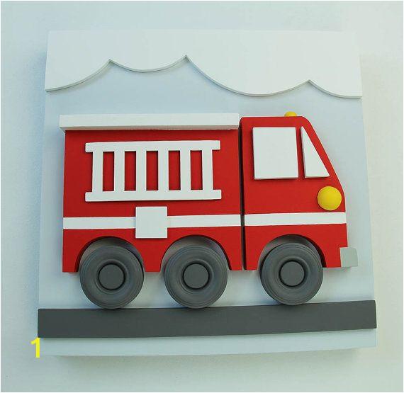 Fire Truck Wall Murals 3d Wood Fire Truck Wall Decor for Kids by Eleosstudio On