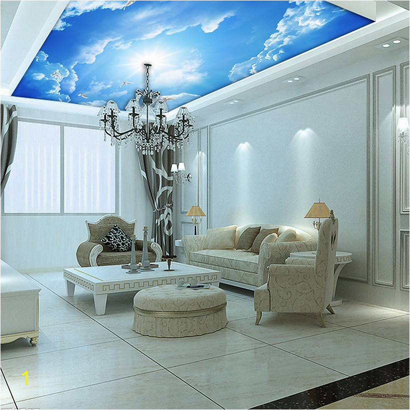 Custom murals 3d blue sky ceiling wallpaper mural wall painting 3d ceiling Leather pattern wallpaper