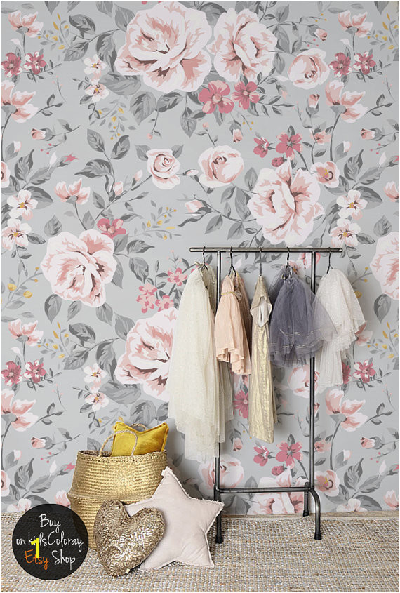 Floral Murals for Walls Vintage Floral Wallpaper Rose Wall Mural Nursery Wallpaper