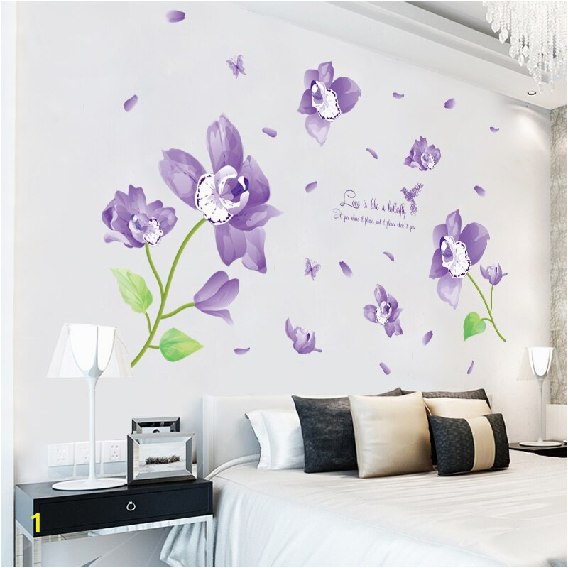 Fundecor fantasy violet flower wall stickers home decor living room bedroom kitchen bathroom wall decal