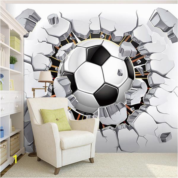 Football Wall Mural Wallpaper Custom Wall Mural Wallpaper 3d soccer Sport Creative Art Wall Painting Livingroom Bedroom Tv Background Wallpaper Football Free 3d Wallpaper