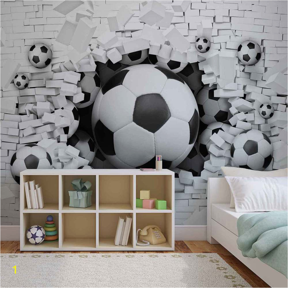Football Wall Mural Wallpaper Wall Mural Football Through the Wall Xxl Photo Wallpaper