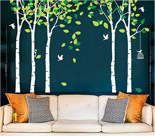 Forest Wall Decal Mural Fymural 5 Trees Wall Decals forest Mural Paper for Bedroom Kid Baby Nursery Vinyl Removable Diy Decals 103 9×70 9 White Green