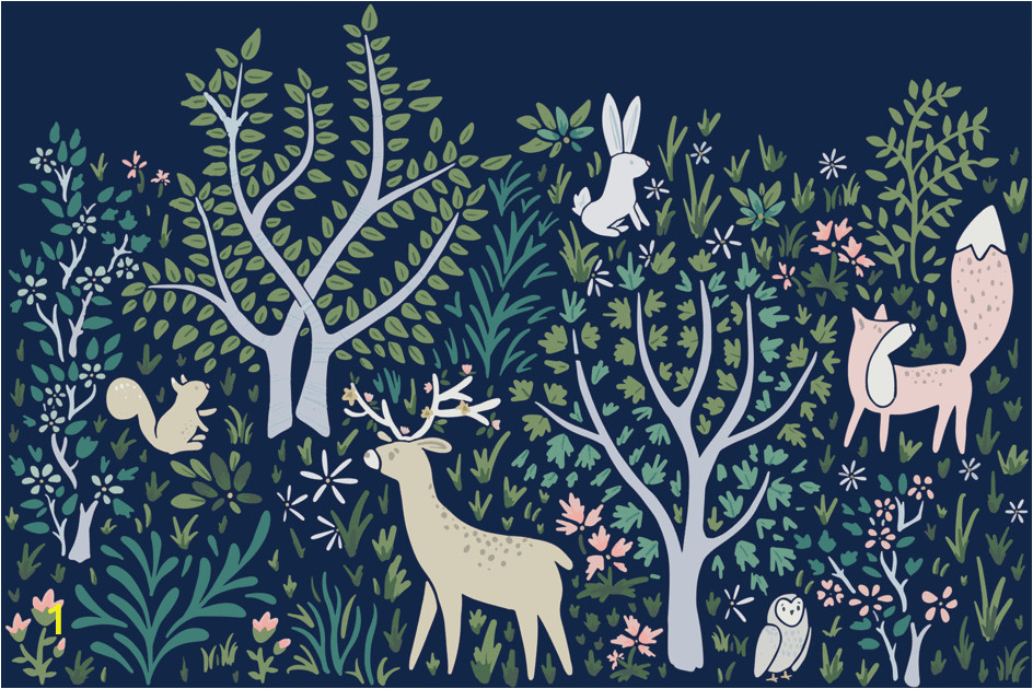 Forest Wall Mural Nursery Woodland forest Wall Mural In Navy