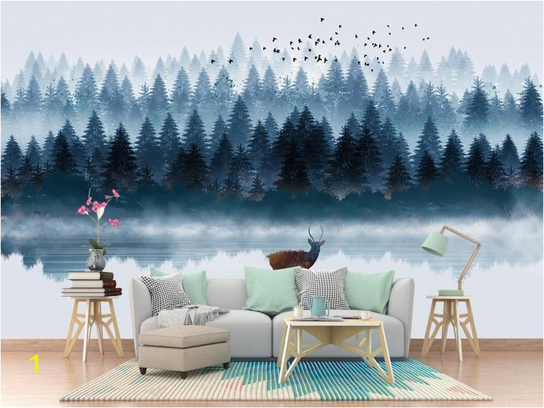 Forest Wall Mural Painting Dreamy Foggy Handpainted northern European forest Wallpaper