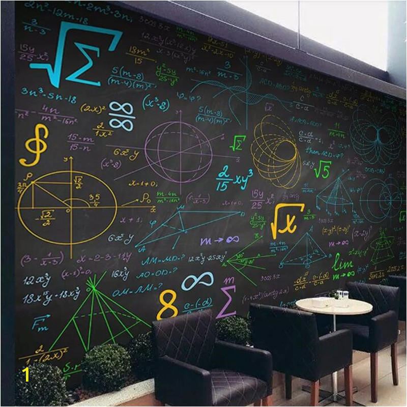 Mathematical formula color chalk blackboard background wall custom large indoor wallpaper mural 3D photo wall