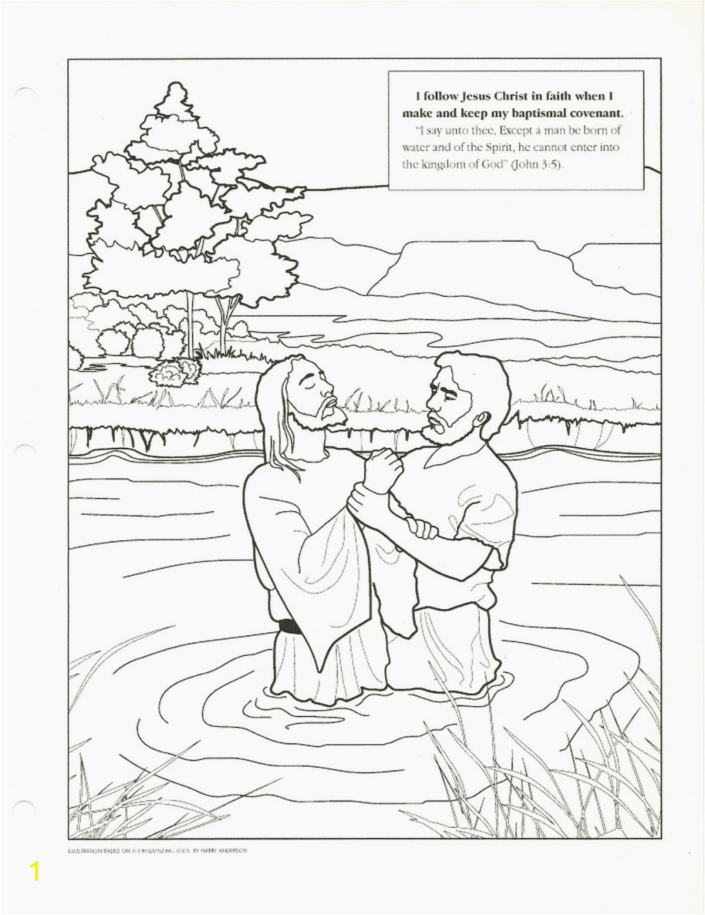 coloring page of jesus baptism for kids pages lds fabulous image