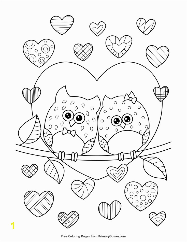 Free Kids Valentine Coloring Pages Owls In Love with Hearts Coloring Page • Free Printable