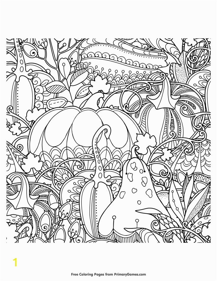 Free Printable Thanksgiving Coloring Pages for Adults Fall Pumpkins Berries and Leaves Coloring Page • Free