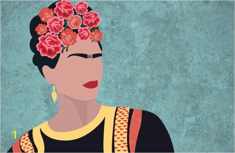 Frida Kahlo Wall Mural Frida Kahlo Portrait Floral Wallpaper Mural