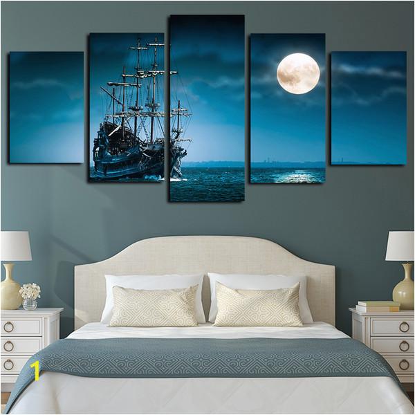Full Moon Wall Murals 2019 5 Panels Canvas Print Wall Art Sailboat Seascape Picture Full Moon Night Sea Moonlight Ocean Ship Artwork Blue Ocean Poster From