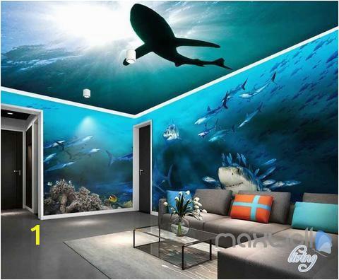 Full Room Wall Murals 3d Sharks Shadow Underwater Entire Room Wallpaper Wall