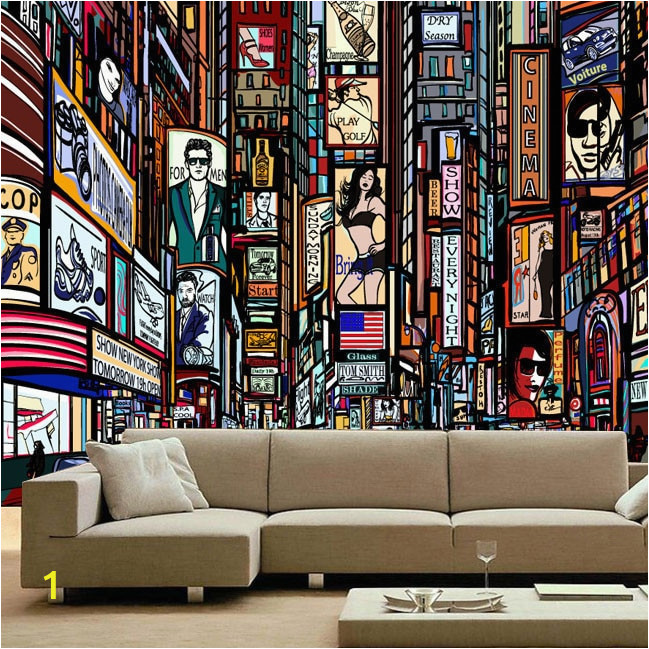 New three dimensional European style street color 3D large mural KTV living room TV wall wallpaper