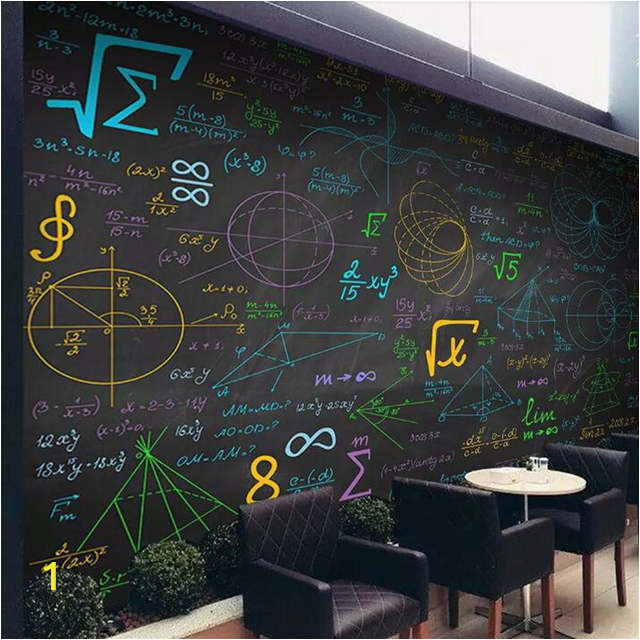 Mathematical formula color chalk blackboard background wall custom large indoor wallpaper mural 3D photo wall 640x640q70