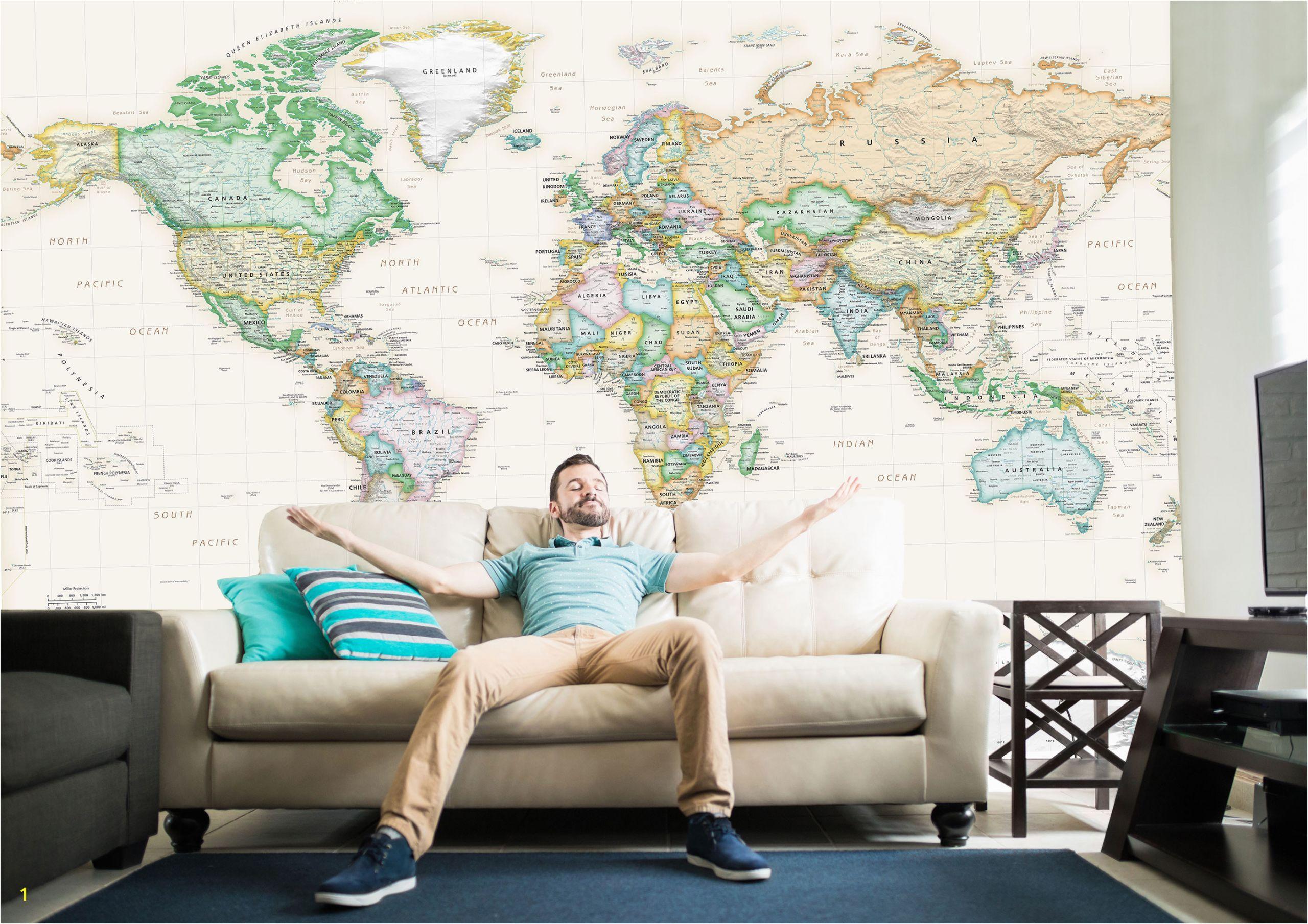 world executive political map mural academia lg 2