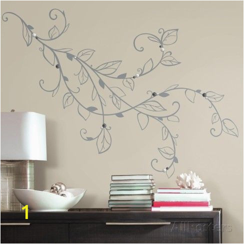 Giant Wall Mural Decals Silver Leaf Giant Peel and Stick Wall Decals with Pearls