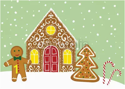 christmas card with gingerbread house webp