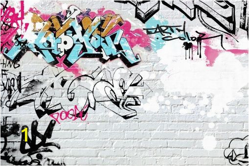Graffiti Brick Wall Mural White Brick Graffity Wall Mural Wallpaper Wall
