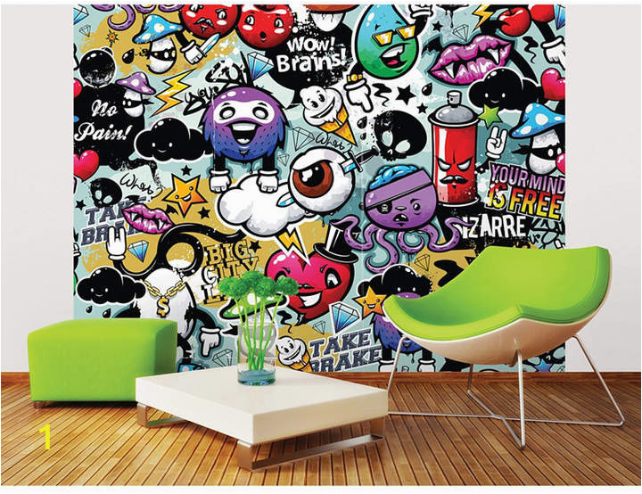 Graffiti Wall Murals for Bedrooms Mural Graffiti Monster Wall In 2019