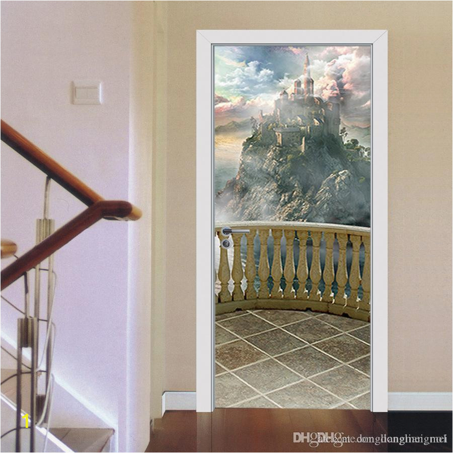 balcony scenery castle door wall sticker