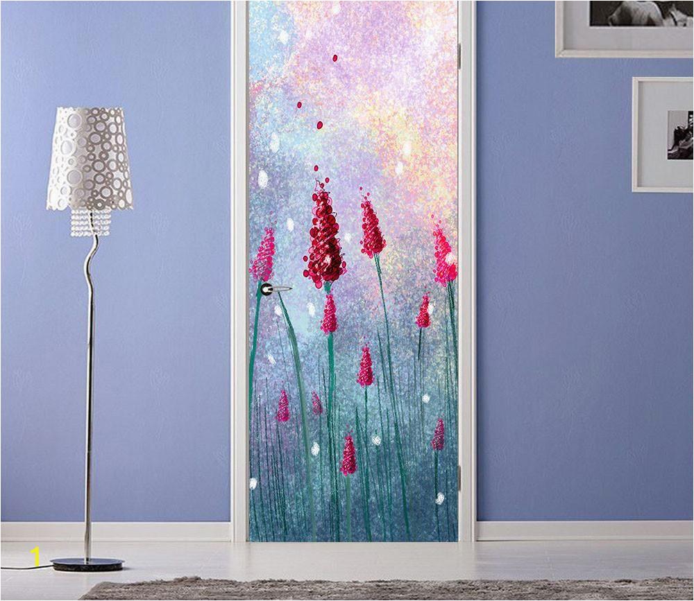 Grey Petals Wall Mural 3d Bright Red Flower Painting Door Mural