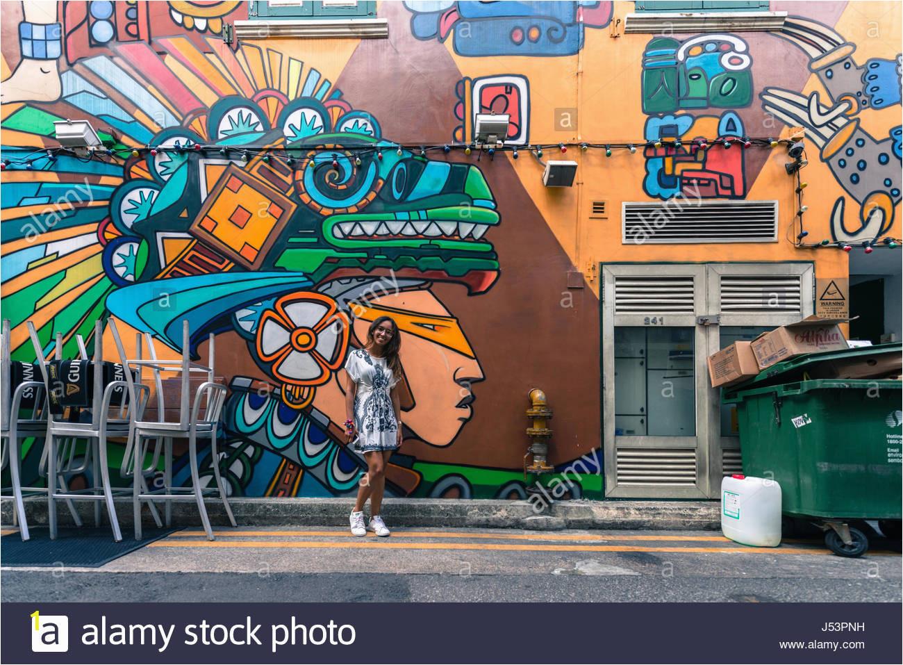 colorful exterior wall mural outside bar haji lane arab quarter singapore J53PNH