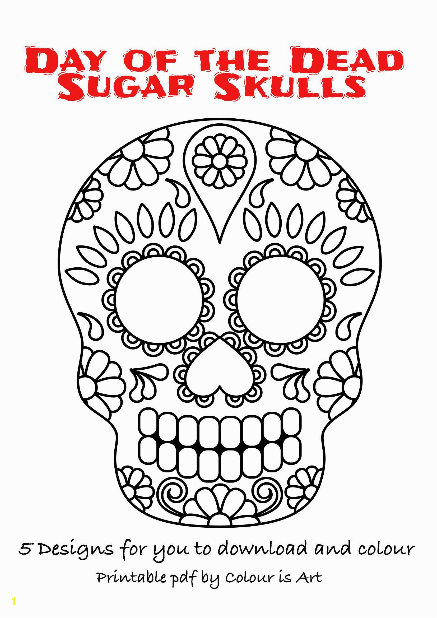 Halloween Color Pages Pdf Day Of the Dead Sugar Skulls 5 Designs to and
